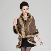 Mulher moda acrílico de malha faux fur inverno quente xale (yky4468)