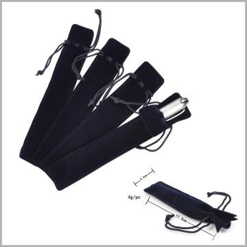 Soft Black Pen Velvet Bag with Line, Velvet Pen Gift Bag