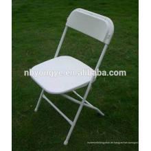 Verstärkter Metallrahmen Poly-Kunststoff-Klappstuhl in weißer Farbe