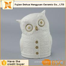 White Ceramic Owl Figure for Desktop Gift