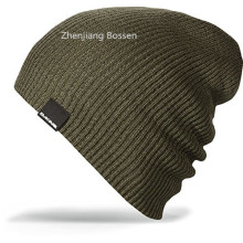 OEM Produce Cheap Acrylic Logo Embroidered Slouch Daily Sports Knitted Beanie Cap
