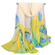 Popular printed flower tulip wholesale malaysia maxi hijab bubble chiffon shawl scarf
