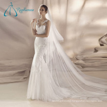 Lace Appliques Tulle Satin Sexy Mermaid Wedding Dress