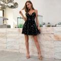 Weixin Shein Fashion Sexy Black Chiffon Star Sequin Halter V Neck Evening Club Dresses