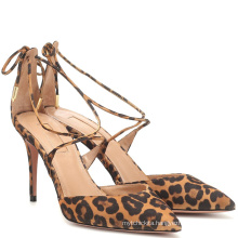2019 Hot Sale Lace-Up Pointed Toe Super Dress Leopard High Heel Shoes