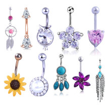 2021 Hot Selling Stainless Steel Multi Color More Than 30 Style Belly Navel Ring Body Piercing Jewelry
