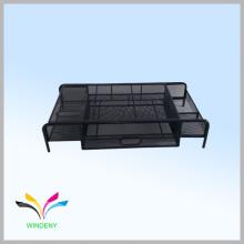 Soporte para monitor de metal de malla de escritorio con cajón extraíble