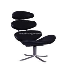 Corona Swivel Leather Lounge Chair