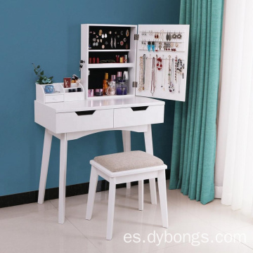 Wood Modern Makeup Dressing Table with Mirrors
