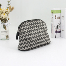 Custom Design Large Capacity Polyester Wave Makeup Pouch Bag White And Black Printed Cosmetic Bag