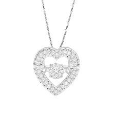 Heart Shape Dancing Diamond Jewelry 925 Silver Pendants
