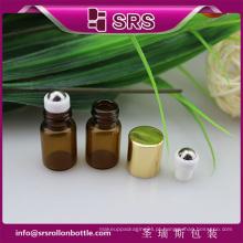 SRS sem vazamento rolo de vidro vazio no frasco, cor âmbar 2ml perfume pequenos frascos de vidro com tampas
