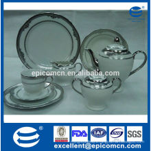 hotel used luxury silver ceramic tea set with porcelain dessert plates