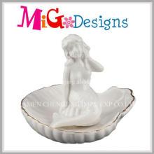 Nuevo sostenedor de anillo único de la forma de la sirena de cerámica del diseño