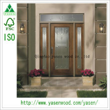 China pintura porta de entrada de fibra de vidro de madeira maciça