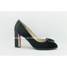 Sexy Square High Heels Leather Women Comfort Shoes