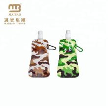De calidad superior 480 ml de plástico bocadillo de embalaje personalizado impreso portátil plegable botella de agua bolsa