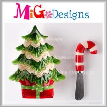 Idéia do presente do preço baixo Christmas Tree Plate and Spreader Set