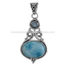 Natural Larimar y cielo azul topacio piedras preciosas 925 joyería de plata sólida colgante