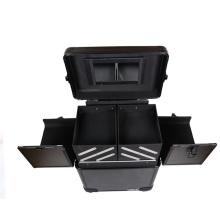 Trolley Design Cosmetic Case Trunk Wheels Double Open