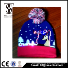 2015 New arrived design acrylic knitted fashion kids Led light hat