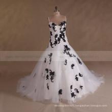 Spaghetti Strap White Black Beaded Cheap Plus Size Wedding Dress 2017
