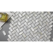 Hot-sale Natural White Herringbone Mosaic Tile Mother of Pearl Shell
