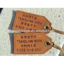 Étiquette de bagage à la mode en cuir de voyage