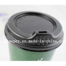 Paper Cup Lid Cover (White/black styrene travel lid) -Pcl-3