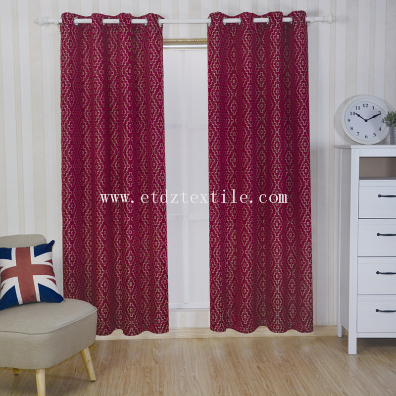 2016 Red Color Modern Design Window Curtain Fabric GF026
