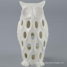 High Quality White Ceramic Owl Candle Holder