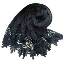 Luxury brand beads shawl cotton viscose muslim stone scarf edges pearls plain lace pearl hijab scarf