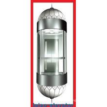 Elevador panorámico con espejo Techo de acero inoxidable con 1 ventilador, luces suaves LED, juego de 4