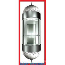 Elevador panorâmico com espelho Teto de aço inoxidável com 1 ventilador, luzes LED Soft, conjunto de 4