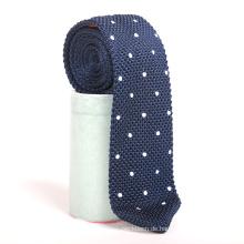 Arbeiten Sie dünne Stickerei-weiße Punkt-Mens-Maschen-Krawatten Polyester um