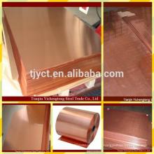 Placa de cobre vermelha da folha de cobre do telhado da decoração