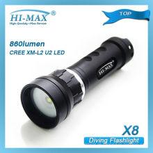 CREE XM-L2 U2 Unterwasseratemgerät Unterwasser Fotografie laufen in 1pcs 18650 Tauchen Video Licht