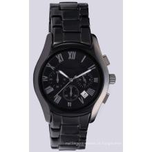 Relógio de mão de cerâmica preta para homens, relógio de pulso para homens e mulheres