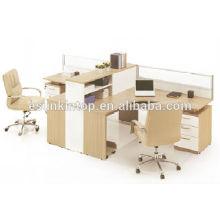 Escritório de móveis de escritório design, mesa de escritório de dois lugares com tela de cinza de teca cor (KW825)