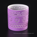 Grace Purple Hollow Ceramic Candle Tealight Holder Painted Outside