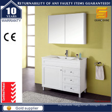 White Lacquer Bath Vanities with One Door & Three Drawers