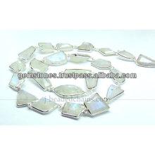 Aqua Chalcedony Fancy Cut Nugget Beaded Chains, Wholesale Supplier Gemstone Jewelry
