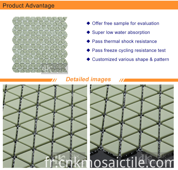 Triangle Glass Mosaic Tiles Green Backsplash