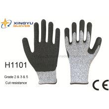 Рабочие перчатки (H1101) Hppe Latex с покрытием из морщин