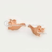 Handmade Designer Bird Stud Earring In Rose Gold 925 Sterling Silver Stud Earring Jewelry Manufacturer