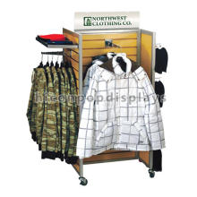 Movable Floorstand Clothing Store 4-Way Retail Garment Wholesale Commercial Slatwall Display Units