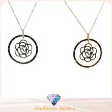 Großhandelsart- und weisefrauen-Rosen-Blumen-hängende Schmucksache-925 strickende silberne Halskette (N6731)