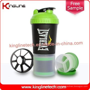 600 мл пластиковая бутылка для протеинов с сеткой и отделением (KL-7030)