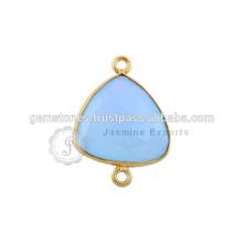 Conectores de bisel de piedras preciosas naturales Conectores de gemas naturales de calcedonia