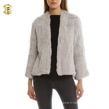 Veste en tricot fourrure de lapin véritable en cuir gris clair